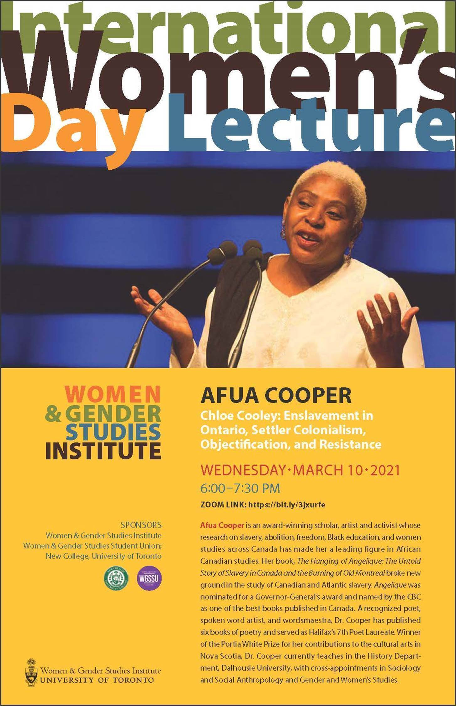 Dr. Afua Cooper at the Women & Gender Studies Institute